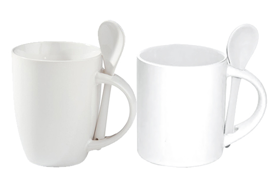 mugs with spoon white